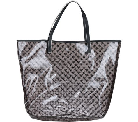 Tas Guess Branded guess black patterned tote bag