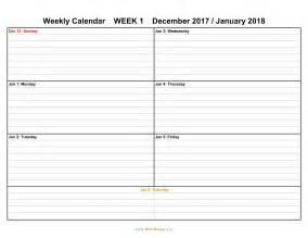 2018 Weekly Calendar Weekly Calendar Weekly Calendar 2017 And 2018