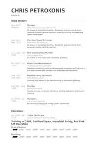 Plumbers Assistant Sle Resume by Plombier Exemple De Cv Base De Donn 233 Es Des Cv De Visualcv