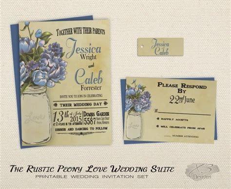 printable rustic wedding invitation set mason jar wedding