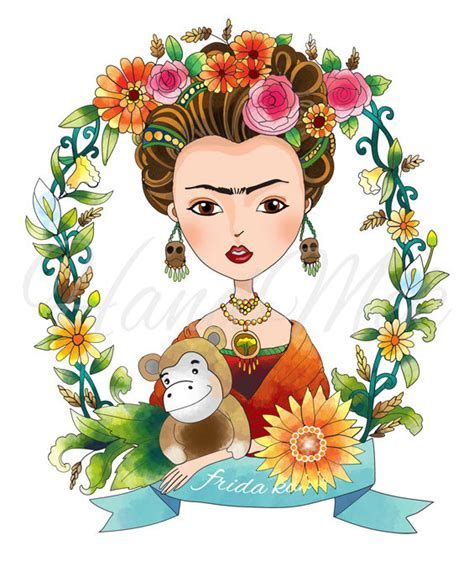 Frida Kahlo Clipart special custom design frida kahlo clipart instant