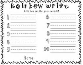 rainbow writing spelling words template primary pals rainbow write templates