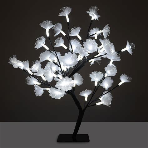 45cm silver fibre optic led cherry flower tree christmas