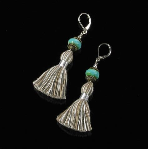 Tassel Earring In Silver tassel earrings boho silver dangle leverback earrings