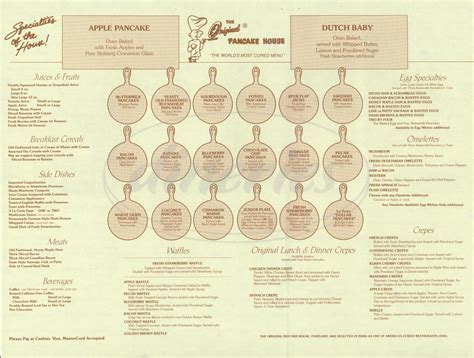 original pancake house menu the original pancake house menu laguna hills dineries