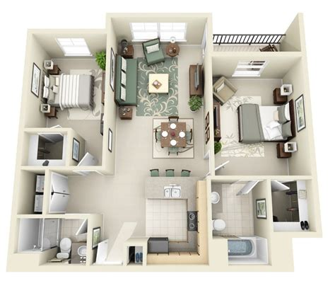 House Design Two Bedroom 50 Two Quot 2 Quot Bedroom Apartment House Plans Architecture
