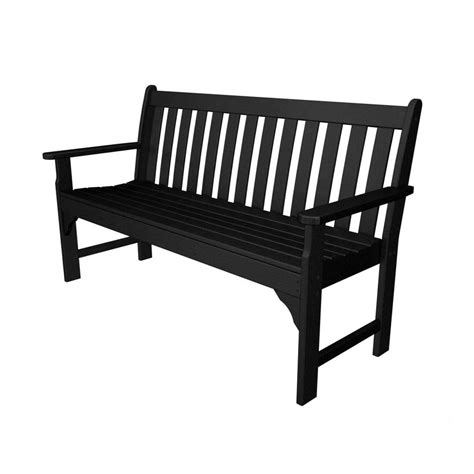 black x bench shop polywood vineyard 24 in w x 60 5 in l black plastic patio bench at lowes com