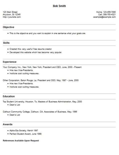 Resume Template Creator resume maker cv resume template exles