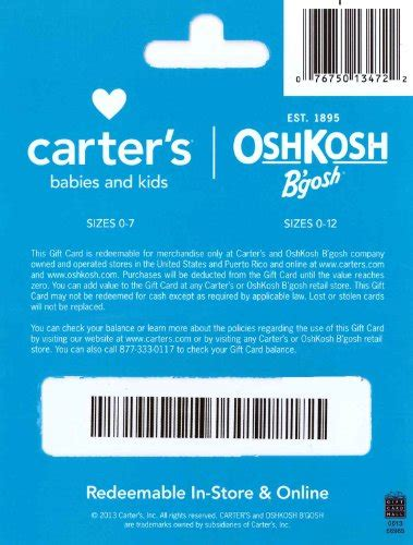 Osh Gift Card - carter s oshkosh b gosh gift card 25 import it all