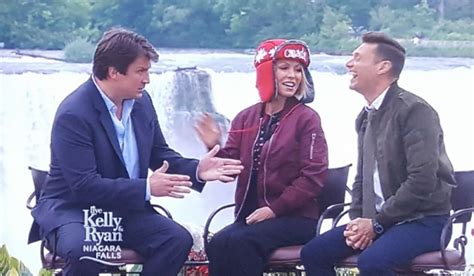 nathan fillion on kelly and ryan canadian crossing day 2 for kelly and ryan in niagara