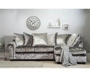 Dining Room Accessories Marilyn Crushed Velvet Corner Sofa Silver Grey