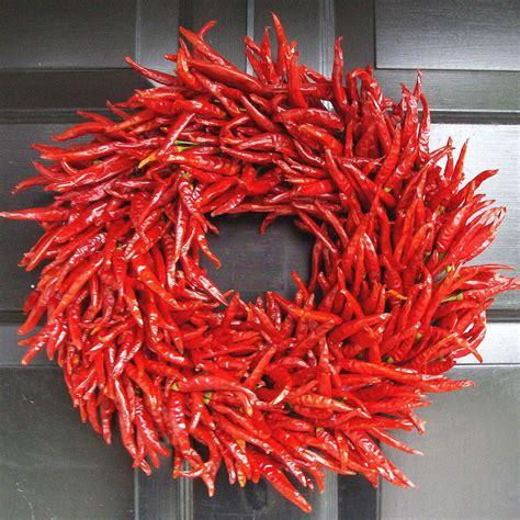 red hot dried chili pepper wreath vivaterra organic red chili pepper wreath the green head
