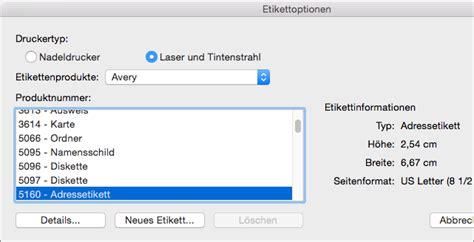 Brief Etiketten Mit Word Drucken by Erstellen Und Drucken Etiketten In Word 2016 F 252 R Mac