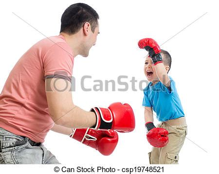 stock photo of father and kid son play with boxing gloves