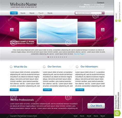 Purple Website Design Template Stock Vector Image 19457807 Web Design Template