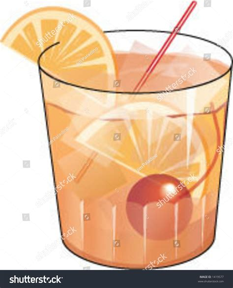 fashioned cocktail illustration fashioned cocktail stock vector 1419577