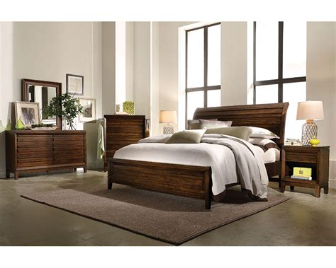 Aspenhome Bedroom Set W Sleigh Bed Walnut Park Asi05 400set Slay Bed Set