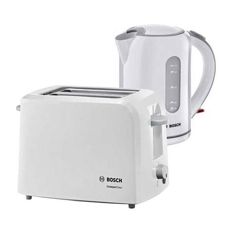 Bosch Kettle And Toaster White bosch collection kettle toaster bundle pack white around the clock offers
