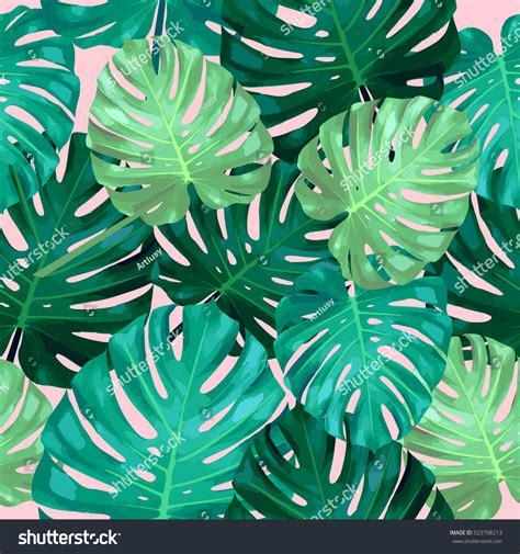 seamless pattern leaves monstera tropical leaves stock