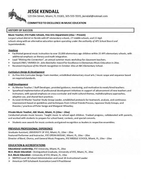 sle resume for musician resume exles exles of resumes