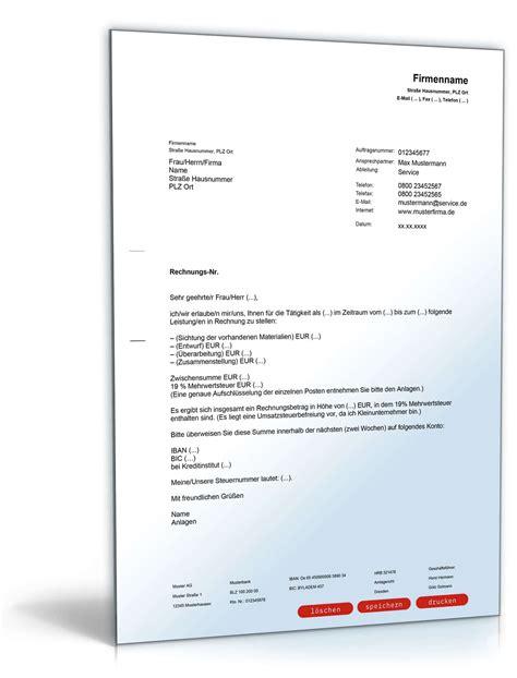 Vorlage Rechnung Beraterhonorar Rechnung Mit Anschreiben An Auftraggeber Muster Zum
