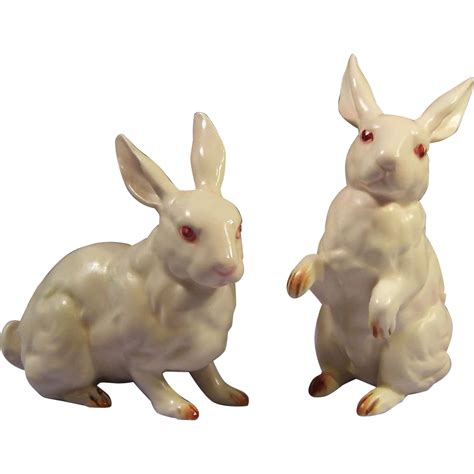 Vintage Bunny Figurine Shop Collectibles - vintage pair of vintage lefton white rabbit figurines h880