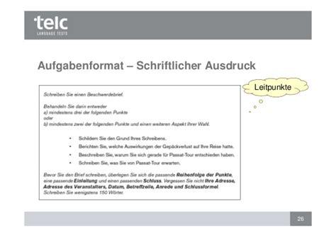 Formellen Brief Beispiel Bewertung Des Schriftlichen Ausdrucks Telc B1 Und Telc Deuts
