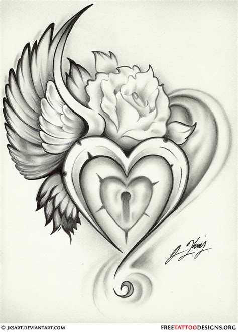 heart lock rose tattoo 55 tattoos and sacred designs