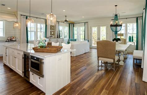 Home Interior Decorating Magazines Beach House Great Room With Pops Of Turquoise At The