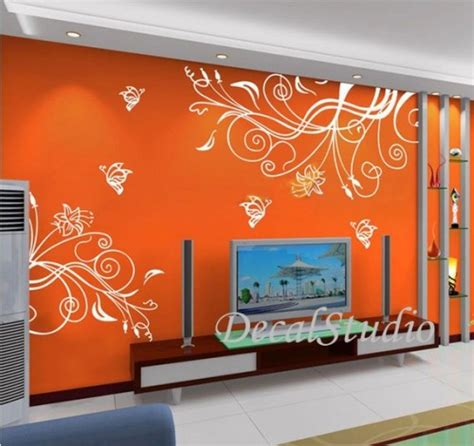 wall stickers murals butterfly flower home removeable wall decal mural vinyl sticker decalstudio housewares
