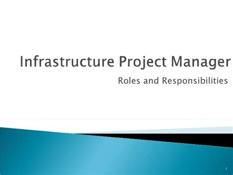 Infrastructure Project Manager by Infrastructure Project Manager