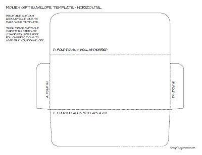 gift card size envelope template printable money envelope templates