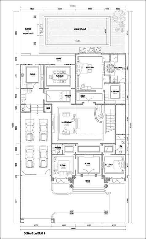 contoh denah rumah mewah 2 lantai places to visit house layout and house layouts