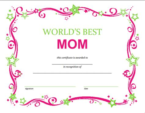 printable card for mom free mothers day printable certificate free printable