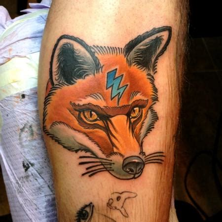 traditional animal tattoos neo traditional lighting bolt fox by steve wimmer tattoos