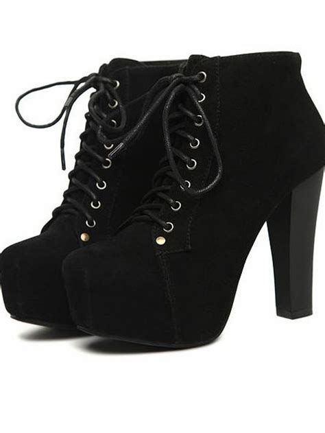 fashion faux suede lace up chunky heel boots