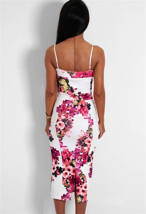 Black Duvet Set Romelia White And Red Floral Bodycon Midi Dress Pink