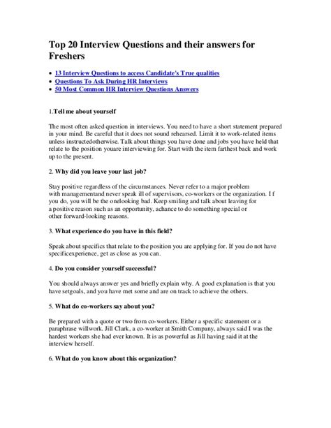 Or Best Question Top 20 Questions And Their Answers For Freshers