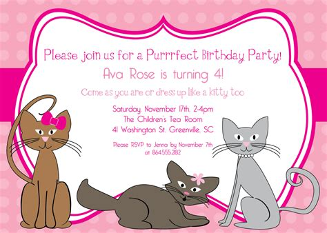 free printable birthday invitations with cats printable kitty cat birthday invitation kitten kitties