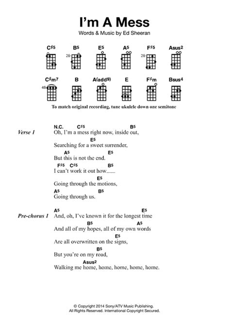 ukulele tutorial ed sheeran i m a mess sheet music by ed sheeran ukulele 121859