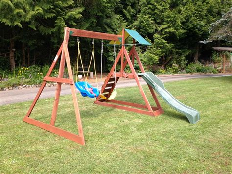 childrens wooden swing and slide sets wooden swing slide set w little tikes toddler chair
