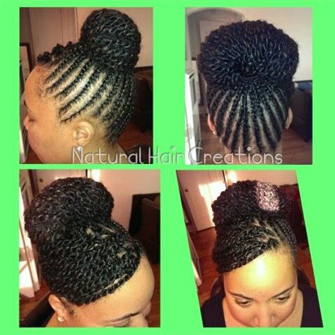 natural hairstyles with swoop high bun flat twists swoop bangs natural hair my work