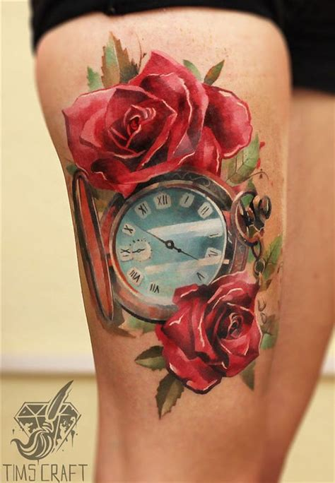 what goes good with rose tattoos the meaning of a clock is often in memorandum of a