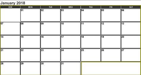 printable calendar landscape 2018 january 2018 calendar landscape printable archives