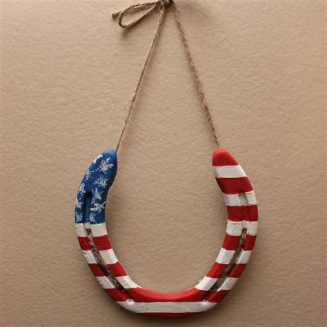 Horseshoe Decorations For Home American Flag Hand Painted Horseshoe Back Home Country Acres