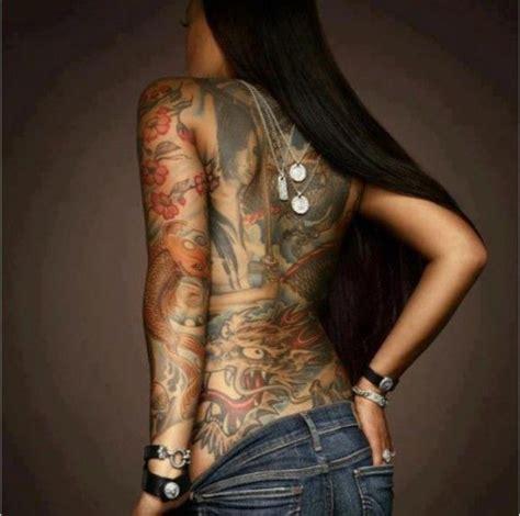 Japanese Tattoo On Black Skin | new school and japanese artwork on model bibi werner