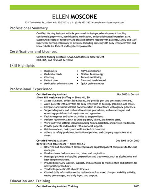best certified nursing assistant resume exle livecareer