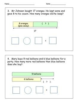 diagram subtraction word problems addition subtraction solve word problems math worksheets