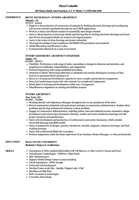resume format for architecture internship beautiful intern architect resume exles pictures