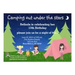 girls camping birthday invitation zazzle